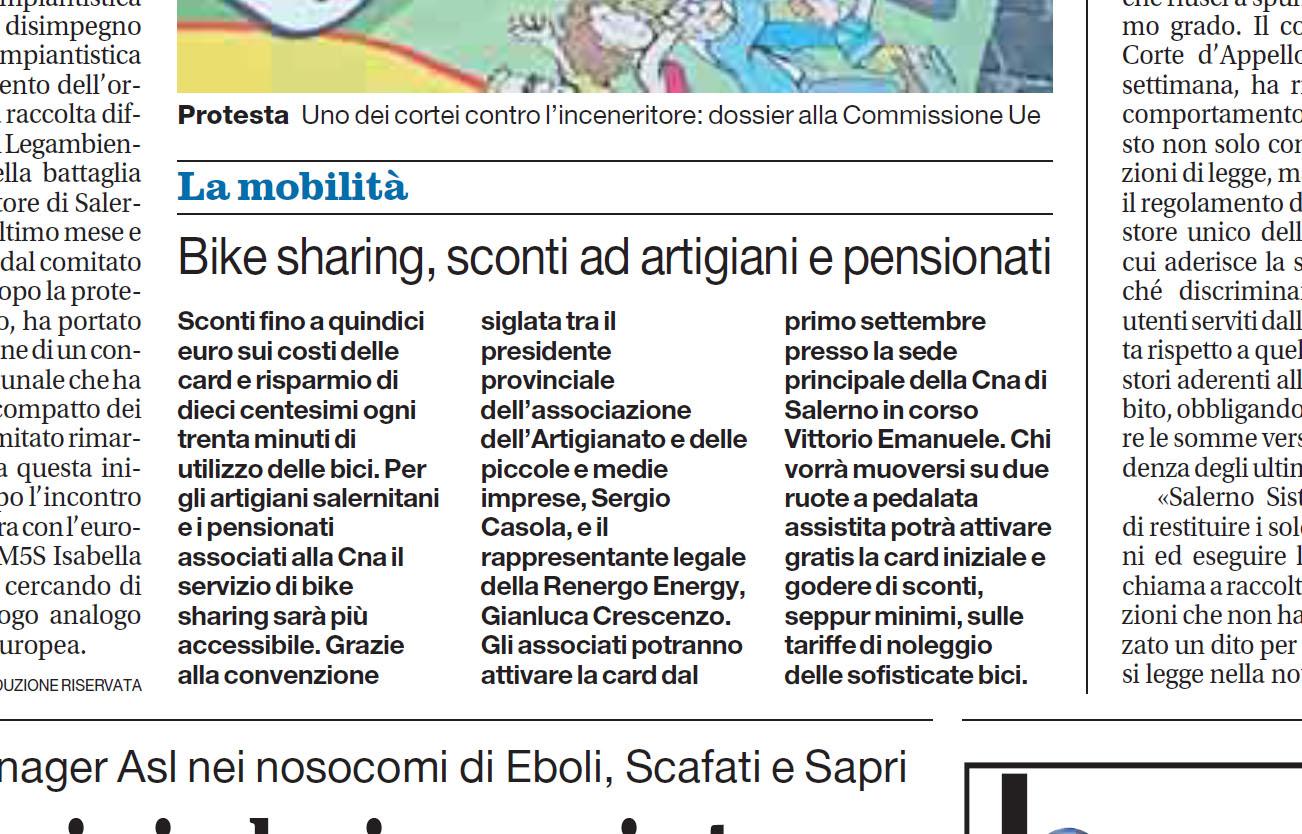 La convenzione Cna sul bike sharing sui giornali