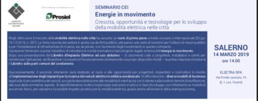 ENERGIE IN MOVIMENTO, A SALERNO IL SEMINARIO CEI PROSIEL